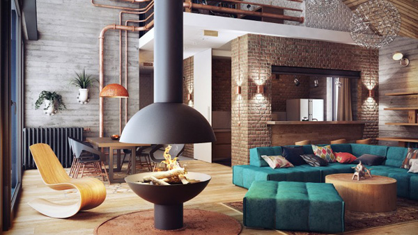RUSTY PIPES AS ODD ELEMENTS OF VINTAGE DÉCOR Loft Interior