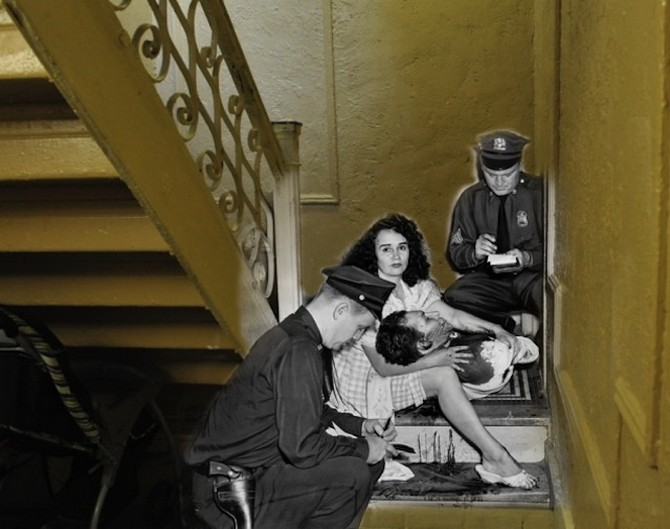 1961 must have been a really bad year. Here is James Linares with his girlfriend Josephine Dexidor after being shot by her husband in a Bronx stairwel