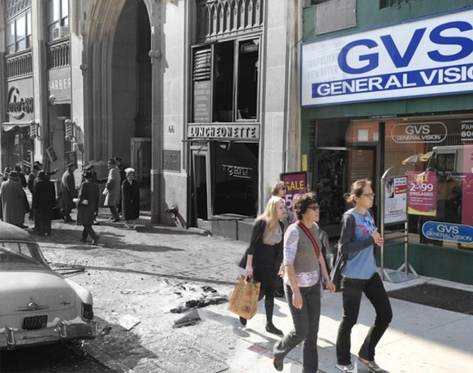 A gas explosion shattered this Court Street facade in Brooklyn on January 31 1961