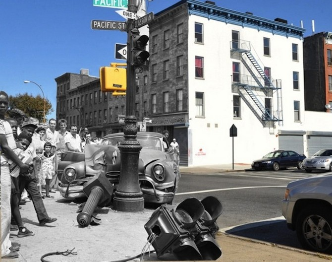 A stolen car smashed into the streetlight at Classon Avenue and Pacific Street in Brooklyn 1957