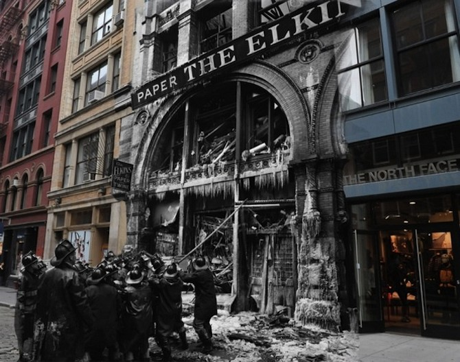 In 1958 there was a fatal fire at the Elkins Paper & Twine Co on Wooster Street in SoHo The building burned to the ground