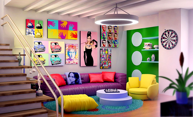 """""""colorful sitting room""""  great ways to design your interiors with pop art style_2 great ways to design your interiors with pop art style 2"""