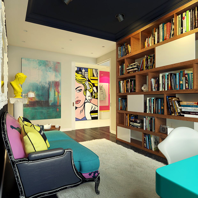 """""""colorful sitting room""""  great ways to design your interiors with pop art style_4 great ways to design your interiors with pop art style 4"""