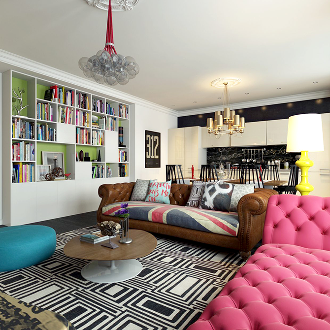 """""""colourful sitting room""""  great ways to design your interiors with pop art style_7 great ways to design your interiors with pop art style 7"""