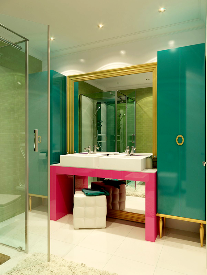 """""""colour bathroom""""  great ways to design your interiors with pop art style_9 great ways to design your interiors with pop art style 9"""