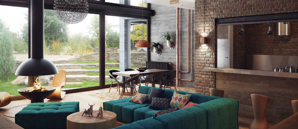 living room Top 5 Wall Lights For The Living Room apartments industrial lofts for living room with green modular sofa and artistic pendant lamp and large window awesome modern loft interior design ideas for studio apartment loft bedroom interior