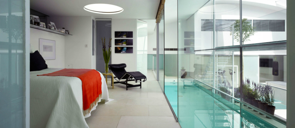 Uses for Glass in Interior Design bedroom luxury large aquatic bedroom interior design near pool with wide glass wall kind of interior design for your bedroom interior decorating