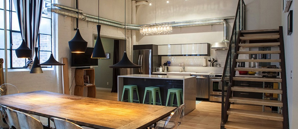 Best Modern Ceiling Light Fixtures charming sunny white ceiling in beautiful industrial style kitchen project transparent chair wooden dining table stairs august modern pendant lamp black covered mint green stools parquet pipes decorat