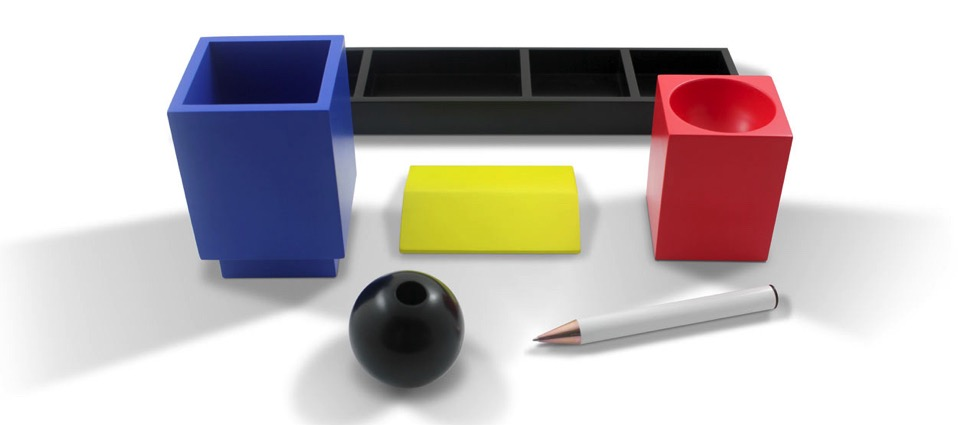 Desk Set Inspired by Vintage Toys & Bauhaus Colors Stillife Desk Adrian Olabuenaga Acme 2