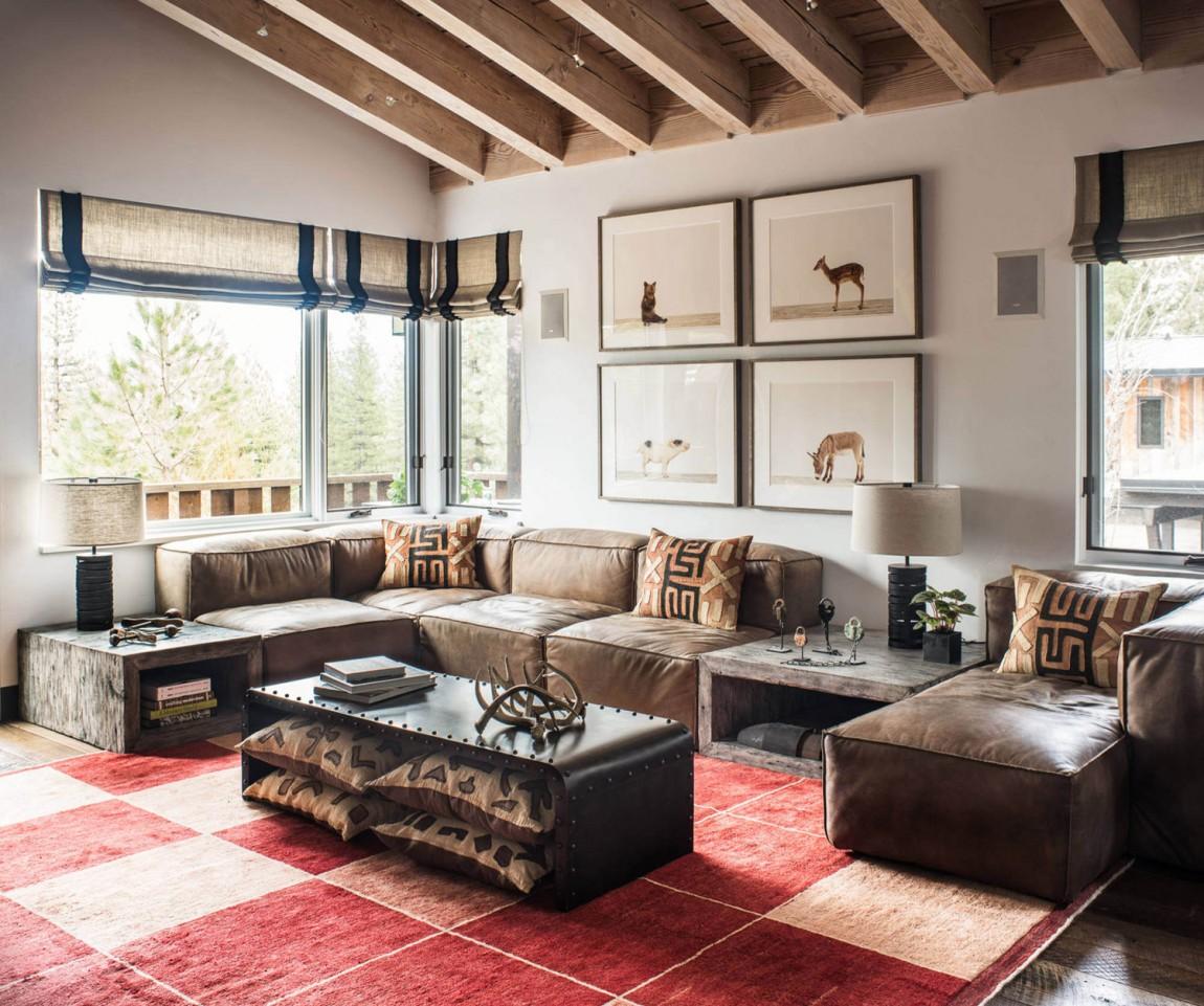 Ski Retreat Casual Ski Retreat Featuring A Fun, vintage And Personal Design Tahoe ski retreat living room sectional