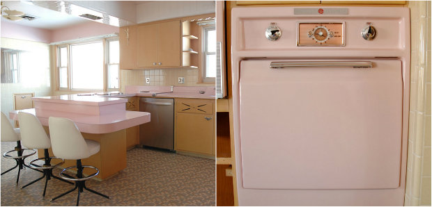 Mid Century Design Untouched 1950s House With A Soft Pink Kitchen