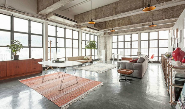 industrial loft Hong Kong: Industrial Loft With Raw Concrete Elements Hong Kong Industrial Loft With Raw Concrete Elements