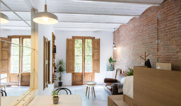 exposed brick walls Micro Flat in the Heart of Barcelona with Exposed Brick Walls Micro Flat in the Heart of Barcelona with Exposed Brick Walls feat